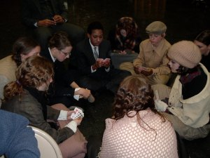 We played card game such as Speed, Spit, BS and Egyptian Rat Race when off stage