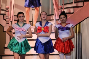 """Maddie Fricker (Pitti-Sing), Maggie Collins (Yum-Yum) and Alexis Thompson (Peep-Bo) sing the famous song """"Three Little Maids"""""""