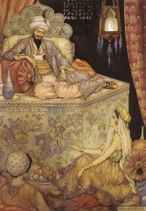Shahrazad, the daughter of the grand vizier, tells her stories to King Shahryar - 1001 Nights, 1943