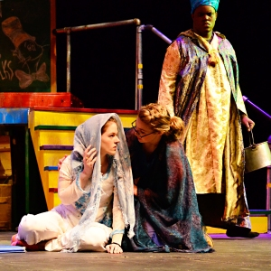 Shahrazad tells her sister, Sarah Mai, a story while the King, William Toney, listens
