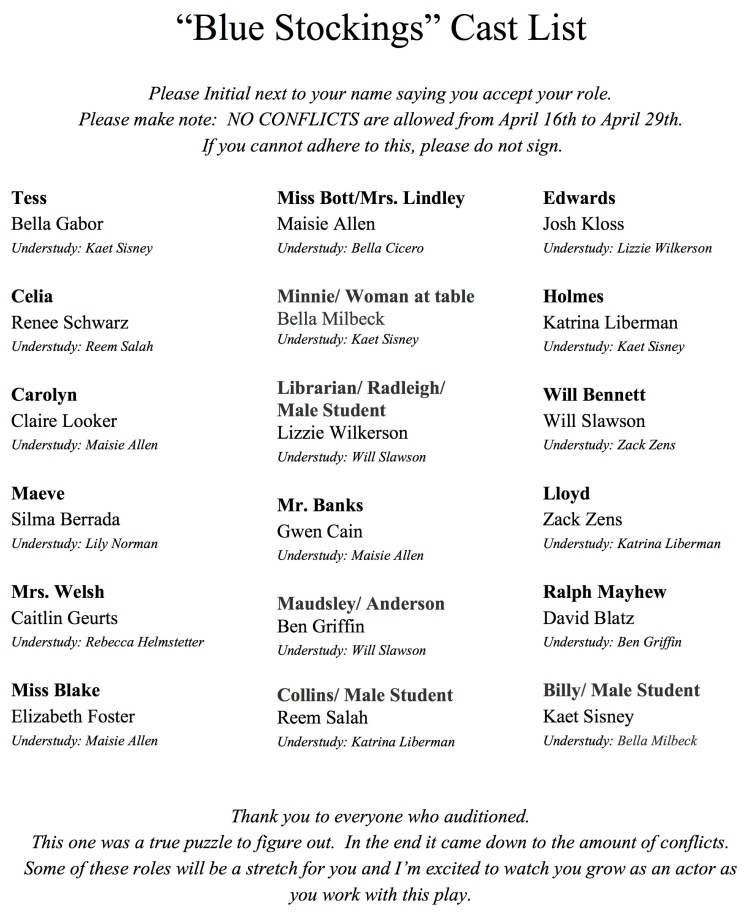 """Blue Stockings"" Cast List"