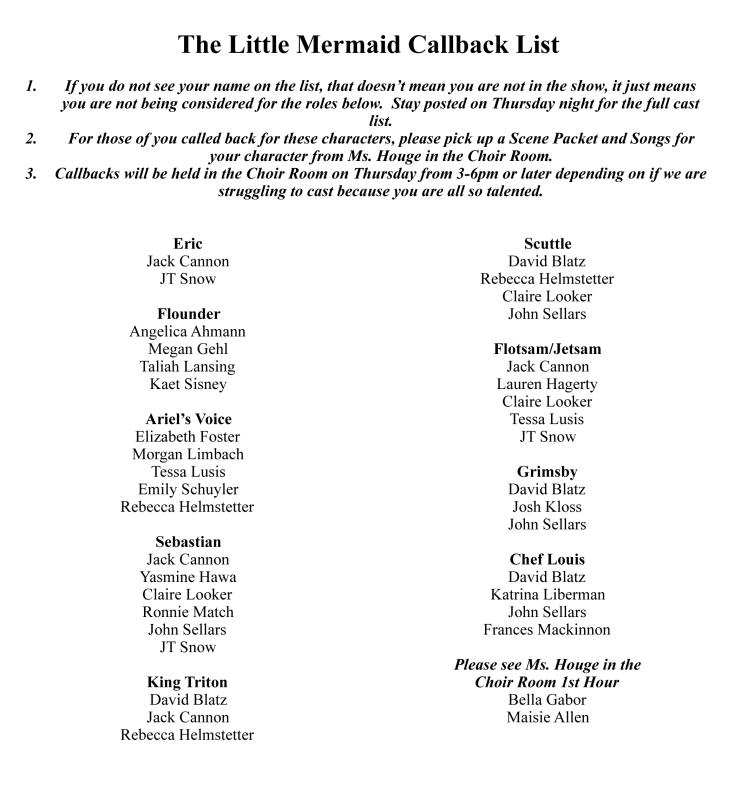 The Little Mermaid Callback List